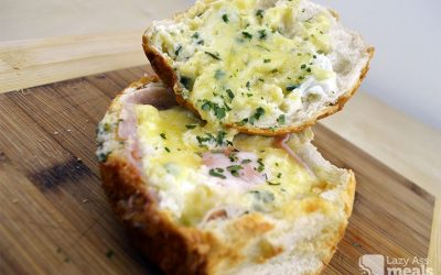 Stupidly Easy Cheesy Ham and Egg Bread Bowl