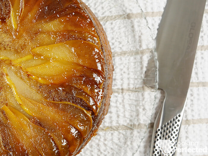 Upside down pear cake ready to serve